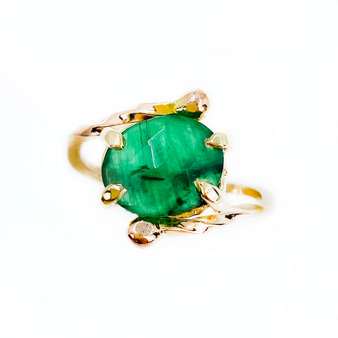 14k Rose Cut Emerald Twist Ring