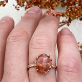 14k Rose Gold and Sunstone Star Dust Ring