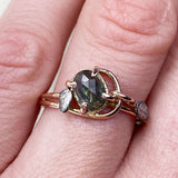 14k Rose and White Gold Green Sapphire Leaf Ring