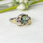 14k White and Yellow Gold Green Sapphire Leaf Ring