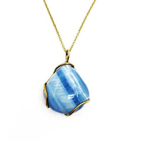 14k Yellow Gold Blue Opal Pendant