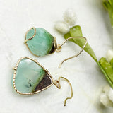 14k Yellow Gold Chrysoprase Winds Earrings