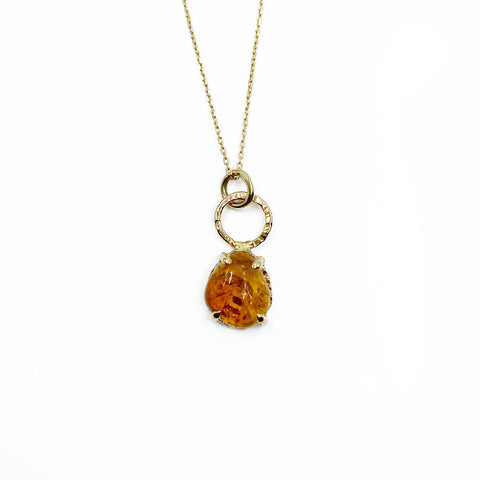 14k Yellow Gold Citrine Halo Necklace