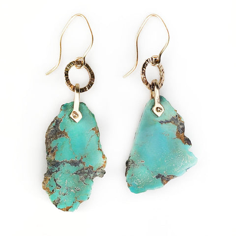 14k Gold Raw Nevada Turquoise Drop Earrings - Mettle by Abby