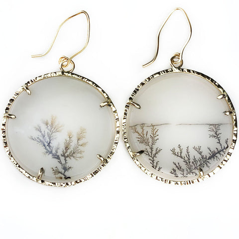 14k Horizon Line Dendrite Earrings - Mettle by Abby