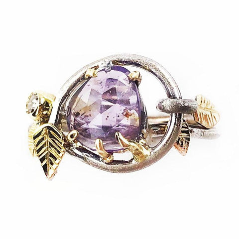 14k Purple Sapphire Leaf Ring - Mettle by Abby