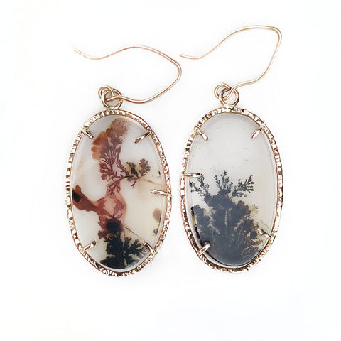 14k Rose Gold Oval Dendrite Earrings - Mettle by Abby