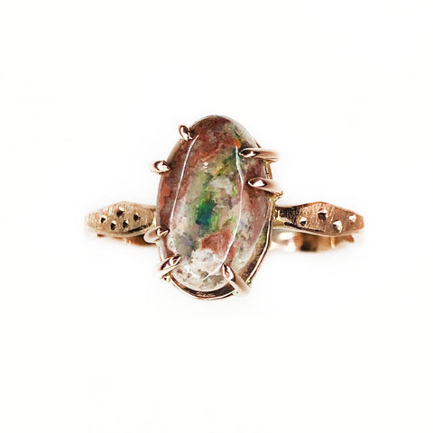 14k Rose Gold Star Dust Mexican Boulder Opal Ring - Mettle by Abby