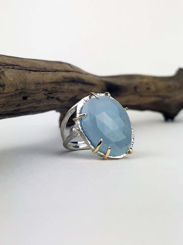 statement aquamarine ring with gold