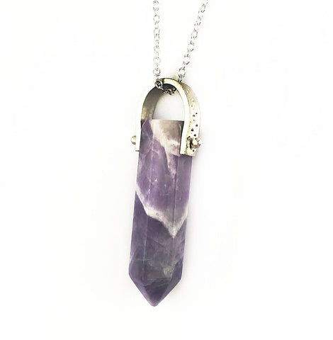 Amethyst Point Necklace // Diamond Hammered Sterling Silver - Mettle by Abby