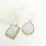 14k Asymmetrical Moonstone Earrings in Gold