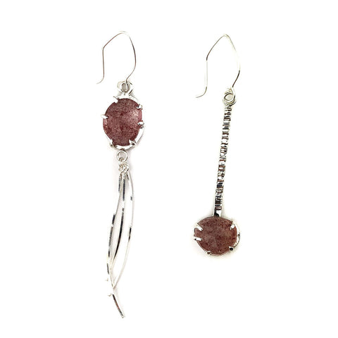 Asymmetry Cherry Quartz Earrings - Mettle by Abby