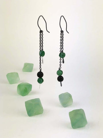 Oxidized Silver Aventurine and Lava Rock Earrings - Mettle by Abby