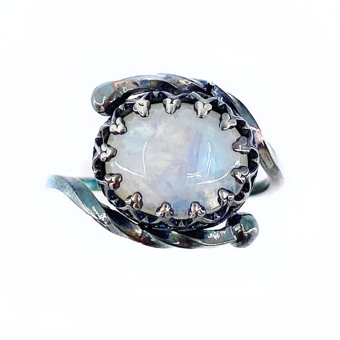 Black Crowned Moonstone Ring