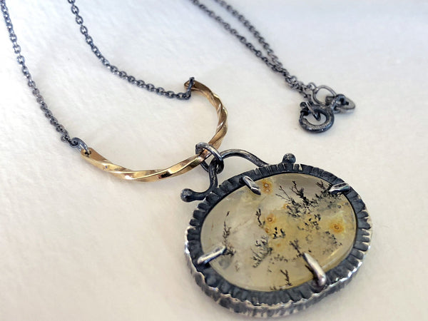 black and gold dendrite necklace