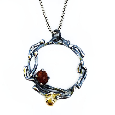 Black and Gold Garnet Crown Necklace - Mettle by Abby