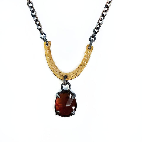 Black and Gold Garnet Mantel Necklace - Mettle by Abby