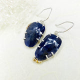 Blue Rose Cut Sapphire Earrings with Gold