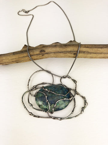 Blue Agate Seaweed Statement Necklace