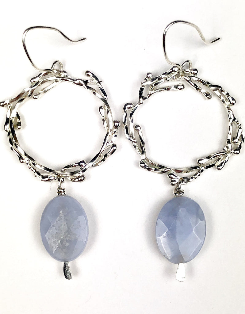 Branch Circle Earrings // Sterling Silver and Blue Lace Agate