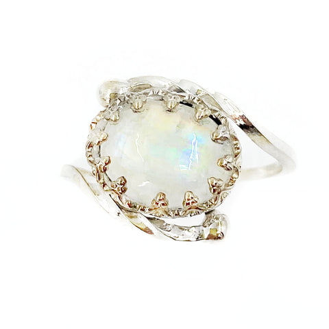 Crowned Oval Moonstone Ring
