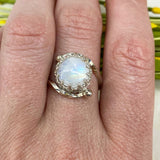 Crowned Round Moonstone Ring