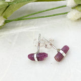 Dainty Ruby Stud Earrings