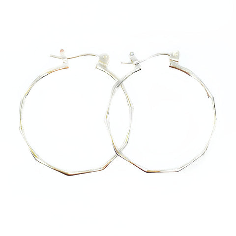 Facet Silver Hoops