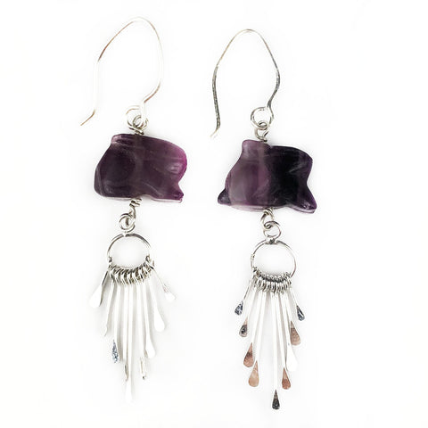Fluorite Bunny Fringe Earrings - Mettle by Abby