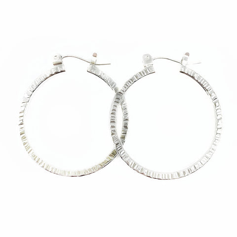 Hammered Halo Hoops in Silver