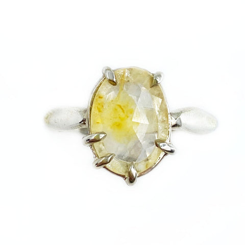 Rose Cut Yellow Sapphire Ring