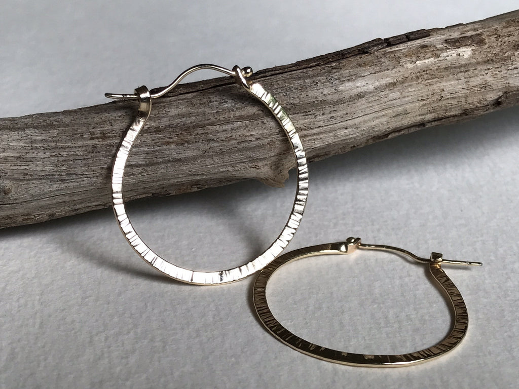 handmade 14k gold hoops