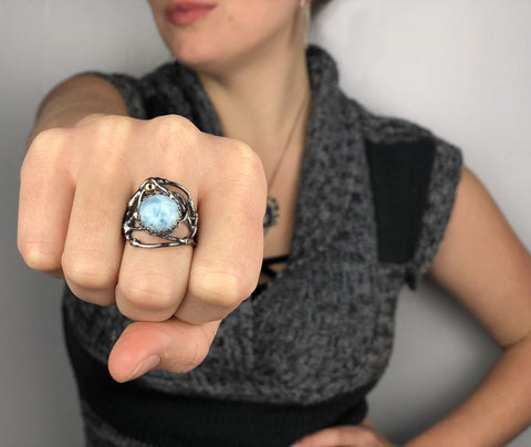 kick ass two tone oxidized silver larimar handmade ring