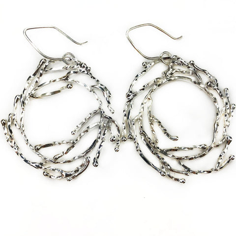 Large Silver Wreath Earrings - Mettle by Abby