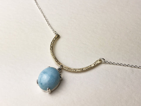 Larimar and Yellow Gold Star Dust Necklace