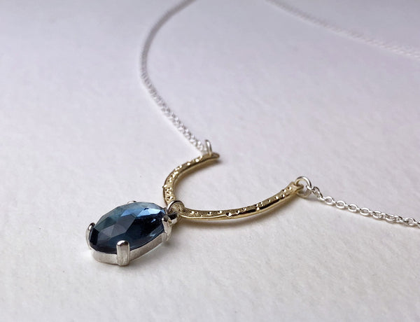 London Blue Topaz Sterling Silver and Yellow Gold Star Dust Necklace