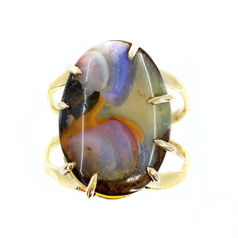 Magnificent Boulder Opal Ring in Yellow Gold - Mettle by Abby