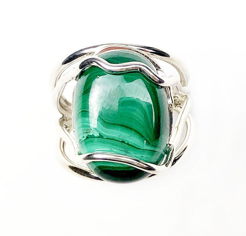 Malachite Landscape Ring - Mettle by Abby