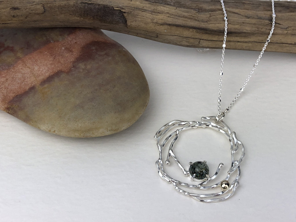 two one handmade necklace moss agate