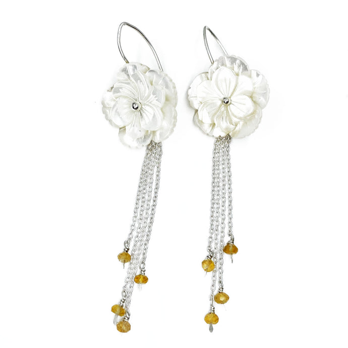 Mother of Pearl and Citrine Blossom Earrings