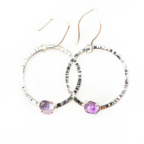 Orbiting Amethyst Hoops - Mettle by Abby