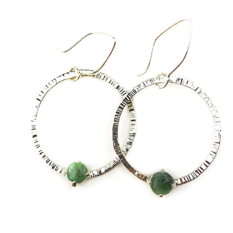 Orbiting Emerald Hoops - Mettle by Abby