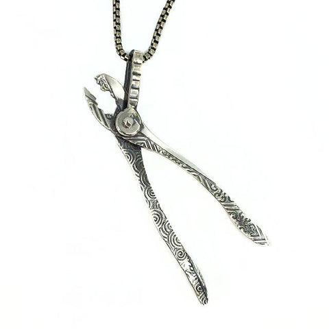 Ornate Plier Pendant in Silver - Mettle by Abby