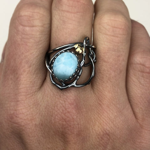 two tone oxidized silver larimar handmade ring