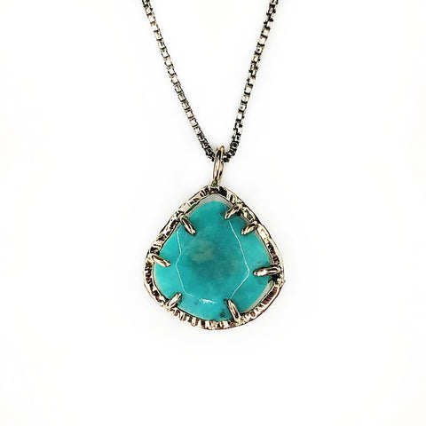 Petite Rose Cut Turquoise Necklace in Yellow Gold - Mettle by Abby