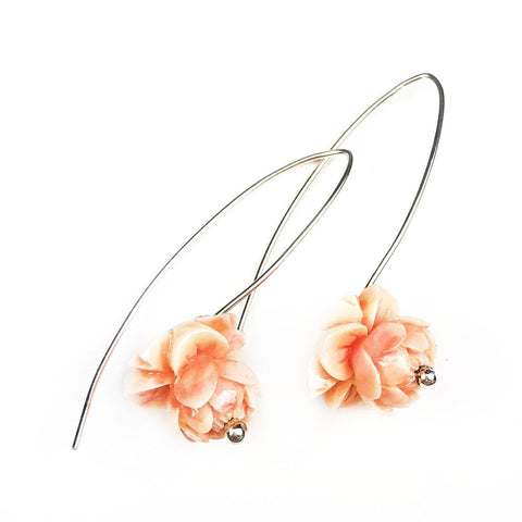 Pink Peony Drop Earrings - Mettle by Abby