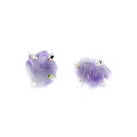Raw Amethyst Studs in Silver