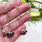 Raw Garnet Drop Earrings