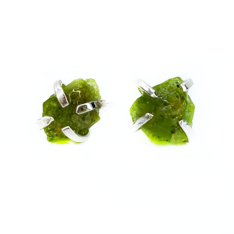 Raw Peridot Studs in Silver