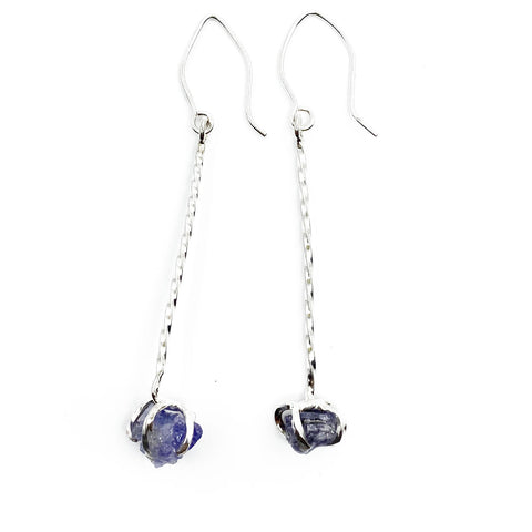 Raw Tanzanite Drop Earrings